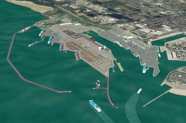 Chantier port de Calais, port de calais, btp
